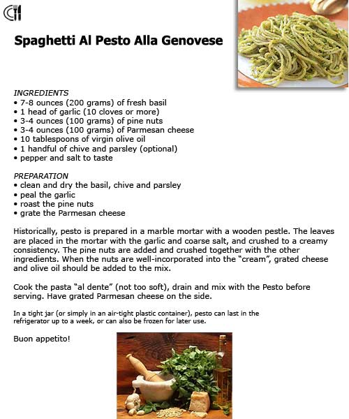 pesto Thriller Romance  Chapter One   The Genovese Connection