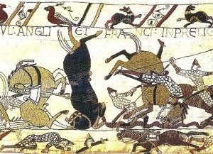 Bayeux Tapestry Horses in Battle of Hastings 300x217 Writers Warfare Traditions Time Travel Science Fiction Story Fiction  Of Fyrdmen and Shields