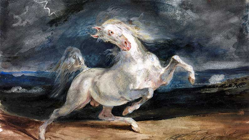 Last Stand - Horse Frightened by a Storm - E. Delacroix (1824)