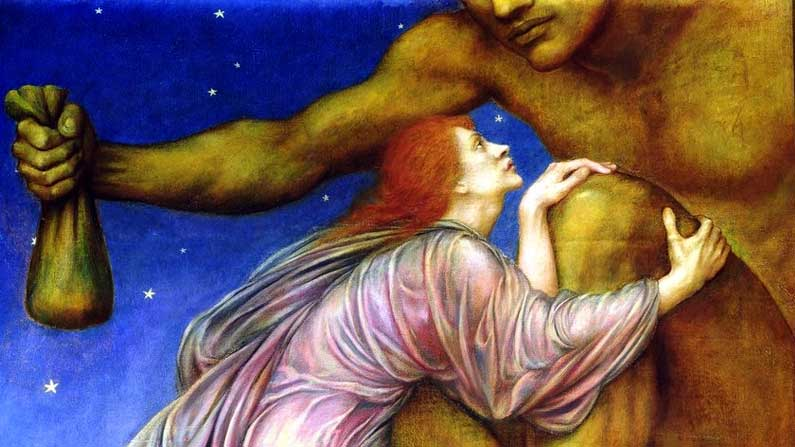 A Breeze of Crumbs - The Worship of Mammon by Evelyn De Morgan 1909
