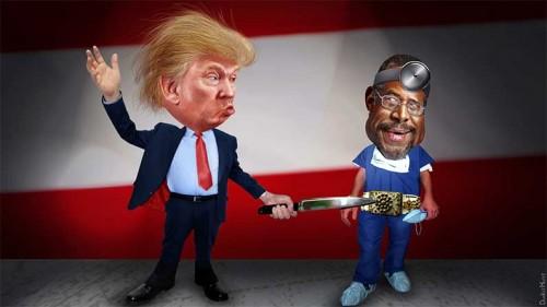 Donald Trump Stabbing Ben Carson in the Belt